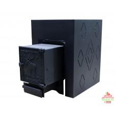 Печь банная ComfortProm СТАЛЬ 3 мм СТАТУС, для парной до 16 кубов, вес 51 кг, длина дров до 30 см, на 130 кг камней, чугунная дверь
