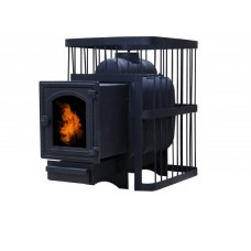 Печь банная ComfortProm ЧУГУН, для парной до 20 кубов, вес 72 кг, длина дров до 40 см, на 130 кг камней, чугунная дверь со стеклом
