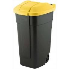 Контейнер для мусора на колёсах 110л REFUSE BIN черный/желтый