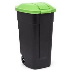Контейнер для мусора на колёсах 110л REFUSE BIN черный/зеленый