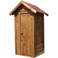 Туалет деревянный ComfortProm с двухскатной крышей