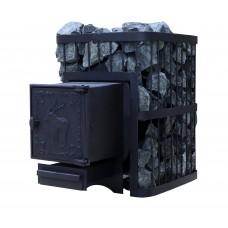 Печь банная ComfortProm ОПТИМАЛЬНАЯ УСИЛЕННАЯ 3 мм, для парной до 16 кубов, вес 56 кг, длина дров до 30 см, на 130 кг камней, чугунная дверь
