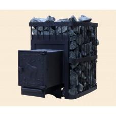Печь банная ComfortProm СТАЛЬ 3 мм, для парной до 20 кубов, вес 56 кг, длина дров до 40 см, на 130 кг камней, чугунная дверь