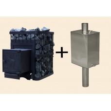 Печь ComfortProm банная СТАЛЬ 3мм, для парной до 16 кубов, вес 56 кг, длина дров до 30 см, на 130 кг камней, чугунная дверь + бак для воды БПС-55