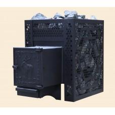 Печь банная ComfortProm СТАЛЬ 3 мм СТАНДАРТ, для парной до 16 кубов, вес 51 кг, длина дров до 30 см, на 130 кг камней, чугунная дверь