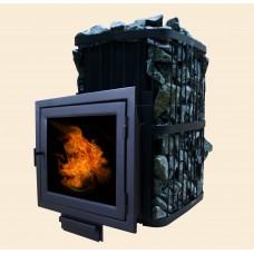 Печь банная ComfortProm СТАЛЬ 8 мм ЗАКРЫТАЯ КАМЕНКА, для парной до 20 кубов, вес 108 кг, длина дров до 40 см, на 180 кг камней, ПАНОРАМА