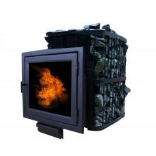 Печь банная ComfortProm ЧУГУН ПАНОРАМА, для парной до 20 кубов, вес 79 кг, длина дров до 40 см, на 130 кг камней