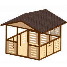 Беседка деревянная ComfortProm с двухскатной крышей 3x3 метра