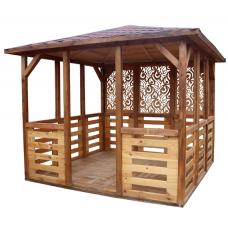 Беседка деревянная ComfortProm с четырёхскатной крышей 3x3 метра