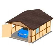 Хозблок-гараж деревянный ComfortProm 4x5 метра