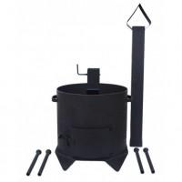 Печь усиленная для казана с дверцей и дымоходом