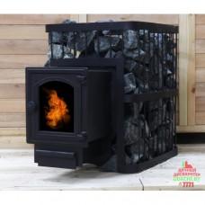 Печь банная ComfortProm ЧУГУН ПРЕМИУМ, для парной до 26 кубов, вес 102 кг, длина дров до 45 см, на 160 кг камней, чугунная дверь со стеклом