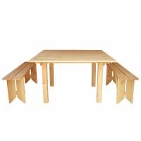 Стол со скамейками деревянные ComfortProm